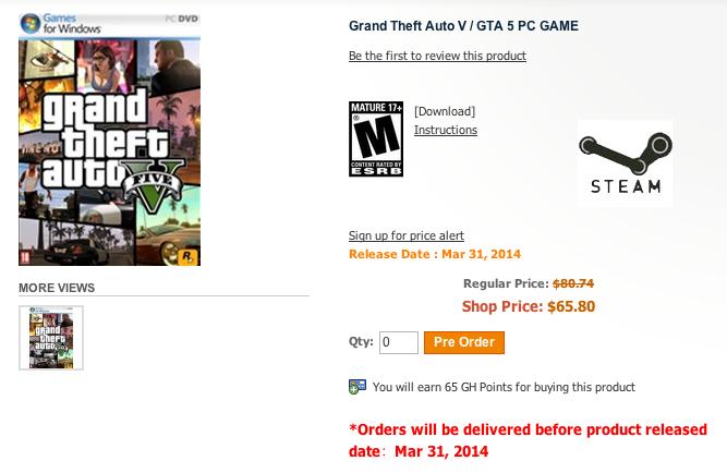 Gameholds sitesindeki GTA 5 PC ön siparişi.