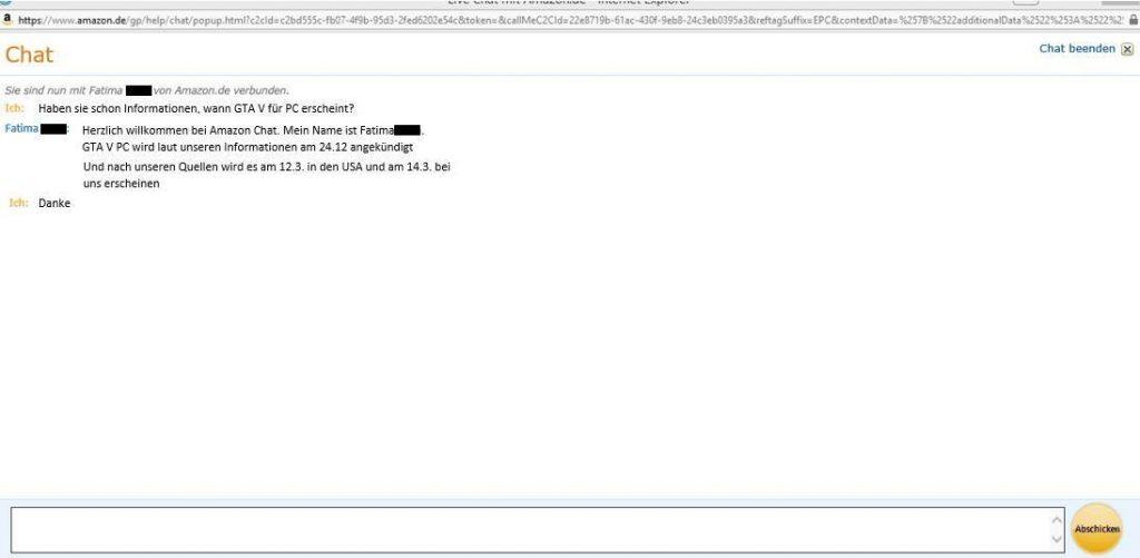 GTA 5 PC Amazon Chat